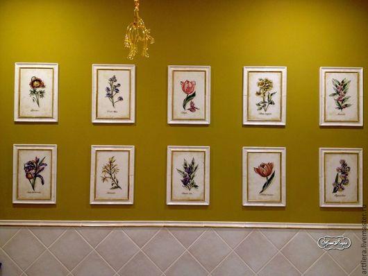 Декор поверхностей ручной работы. Ярмарка Мастеров - ручная работа. Купить Ботанические гравюры на плитке. Handmade. Разноцветный, роспись по плитке