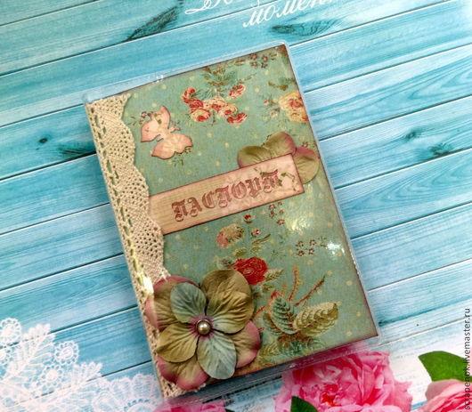"""Обложки ручной работы. Ярмарка Мастеров - ручная работа. Купить Обложка для паспорта """"Винтажные цветы"""". Handmade. Морская волна"""