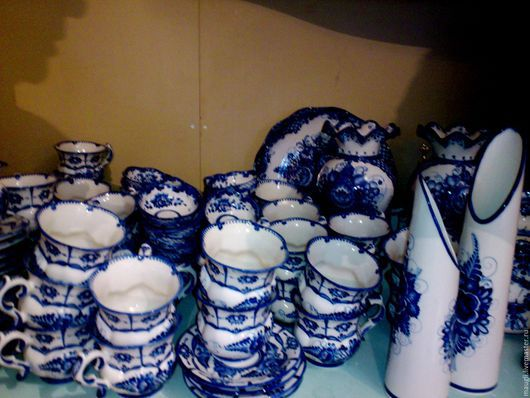 Декоративная посуда ручной работы. Ярмарка Мастеров - ручная работа. Купить Гжель ПРОИЗВОДСТВО. Handmade. Тёмно-синий, фарфор