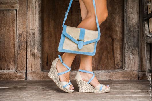 Обувь ручной работы. Ярмарка Мастеров - ручная работа. Купить Туфли из натуральной замши Viсky. Handmade. Бежевый, босоножки из кожи