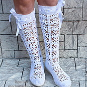 """Обувь ручной работы. Ярмарка Мастеров - ручная работа Вязаные сапожки летние """"Белый танец"""" ( хлопок). Handmade."""