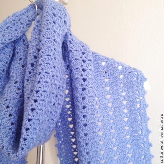 """Шарфы и шарфики ручной работы. Ярмарка Мастеров - ручная работа. Купить Ажурный шарф """"Незабудки"""". Handmade. Голубой, модный шарф"""