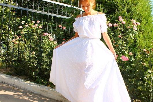 """Платья ручной работы. Ярмарка Мастеров - ручная работа. Купить Платье с кружевом """"Роскошь лета"""" хлопок-шитье. Handmade."""