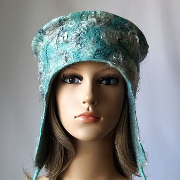 Accessories handmade. Livemaster - original item Hat with Earflaps Mint felted wool warm hat with ears. Handmade.