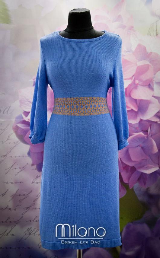 Платья ручной работы. Ярмарка Мастеров - ручная работа. Купить Вязаное платье из вискозы. Handmade. Голубой, вязаные вещи