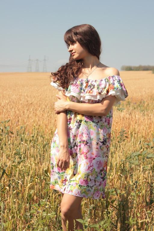 """Платья ручной работы. Ярмарка Мастеров - ручная работа. Купить Платье """"Итальянская роза"""". Handmade. Разноцветный, платье летнее"""