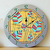 Для дома и интерьера handmade. Livemaster - original item Clock wall round Colorful Leaves. Gold-silver. Handmade.