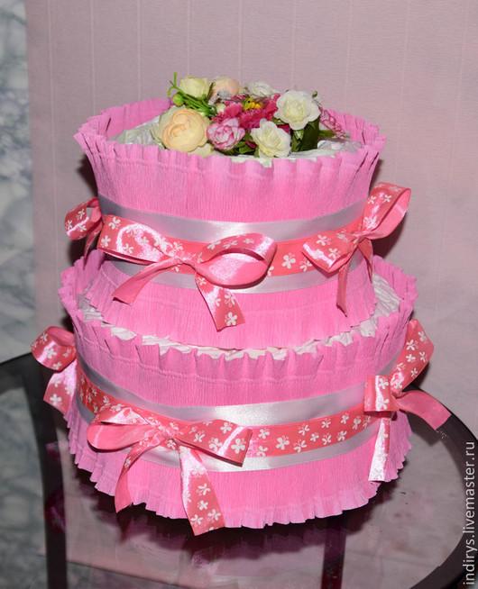 Подарки для новорожденных, ручной работы. Ярмарка Мастеров - ручная работа. Купить Торт из памперсов 1 и 2 ярусный. Handmade. Розовый