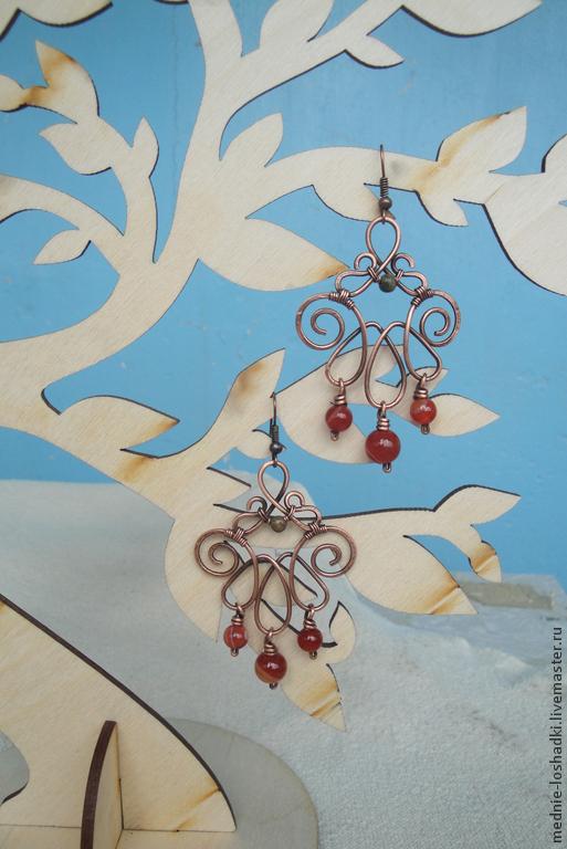 """Серьги ручной работы. Ярмарка Мастеров - ручная работа. Купить Серьги """" Осенние листья"""". Handmade. Рыжий"""