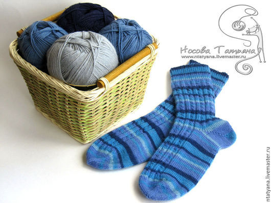 Носки, Чулки ручной работы. Ярмарка Мастеров - ручная работа. Купить Носки Синие полоски. Handmade. Носки, носки теплые