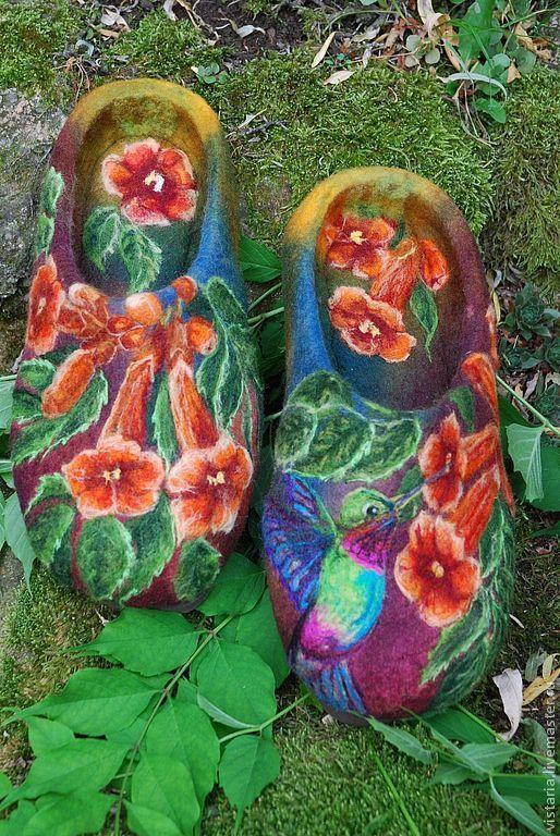 Обувь ручной работы. Ярмарка Мастеров - ручная работа. Купить Тапочки «Кампсис». Handmade. Авторская ручная работа, шерсть 100%