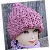 Caps handmade. Livemaster - original item Hat knitted Marsala. Handmade.