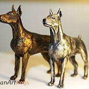 Для дома и интерьера ручной работы. Ярмарка Мастеров - ручная работа ДОБЕРМАН - статуэтка (оловянная миниатюрная фигурка собаки). Handmade.