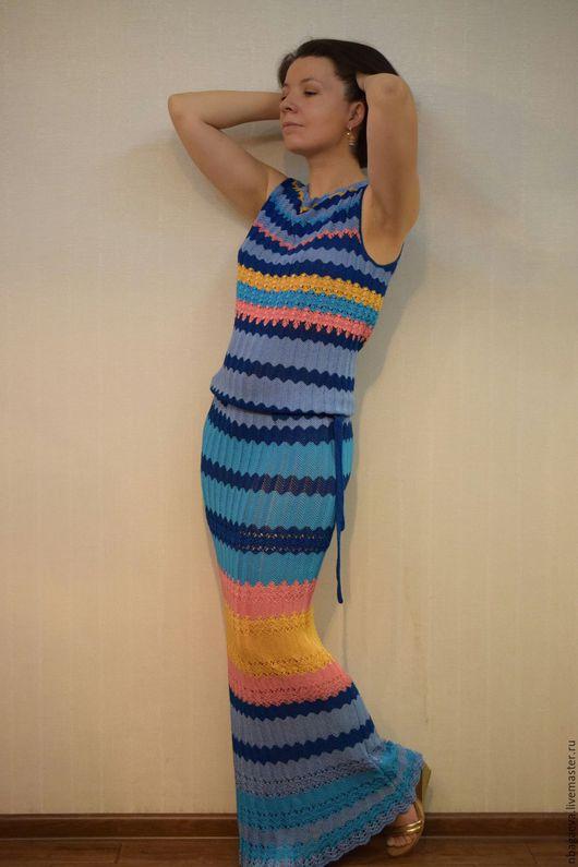 """Платья ручной работы. Ярмарка Мастеров - ручная работа. Купить Вязаное платье """"Скоро рассвет"""". Handmade. Комбинированный, вязаное платье"""