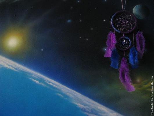 """Ловцы снов ручной работы. Ярмарка Мастеров - ручная работа. Купить """"Звёздное небо"""" - ловец снов, космос, звёзды, звёздная пыль,фиолетовый. Handmade."""