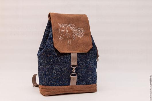 Рюкзаки ручной работы. Ярмарка Мастеров - ручная работа. Купить джинсовый рюкзак Лошадь школьный, городской. Handmade. Тёмно-синий