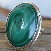 Кольцо с крупным малахитом, серебро