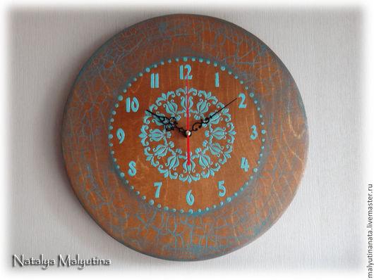 """Часы для дома ручной работы. Ярмарка Мастеров - ручная работа. Купить Часы настенные """"Время не ждёт..."""". Handmade. Коричневый"""