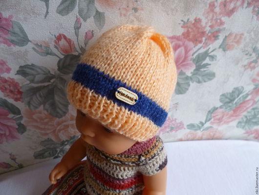 Одежда для кукол ручной работы. Ярмарка Мастеров - ручная работа. Купить Вязаная шапочка для куклы № 2. Handmade. Оранжевый