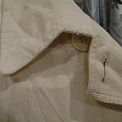 Винтаж ручной работы. Ярмарка Мастеров - ручная работа Тренч плащ пыльник из мягкого вельвета не идеально белого цвета на. Handmade.