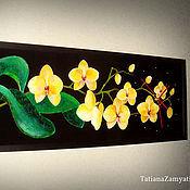 """Для дома и интерьера ручной работы. Ярмарка Мастеров - ручная работа Часы настенные """"Желтые орхидеи"""" на черном стекле. Handmade."""