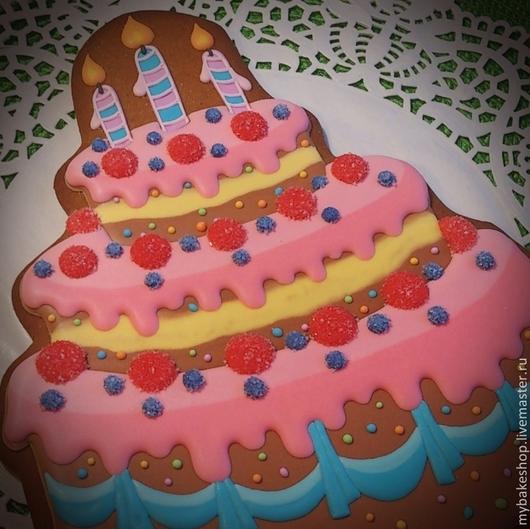 Кулинарные сувениры ручной работы. Ярмарка Мастеров - ручная работа. Купить Пряничный тортик. Handmade. Торт, день рождения