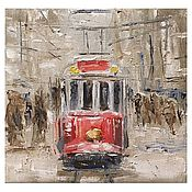 Подарки к праздникам handmade. Livemaster - original item Picture of a Tram on a snowy street. Handmade.