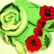 """Обувь ручной работы. Ярмарка Мастеров - ручная работа """"Мак. Зеленая трава"""" тапочки валяные. Handmade."""