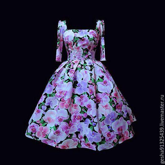 """Платья ручной работы. Ярмарка Мастеров - ручная работа. Купить Платье """"Орхидеи"""". Handmade. Сиреневый, романтика, дизайнерское платье, орхидеи"""