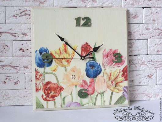 "Часы для дома ручной работы. Ярмарка Мастеров - ручная работа. Купить Часы настенные ""Тюльпаны"". Handmade. Часы настенные"