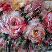 Картины и панно handmade. Livemaster - original item Picture of wool Rose. Handmade.