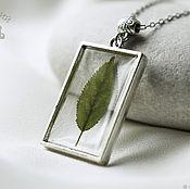 Украшения handmade. Livemaster - original item Transparent pendant with real green sheet of jewelry resin.. Handmade.