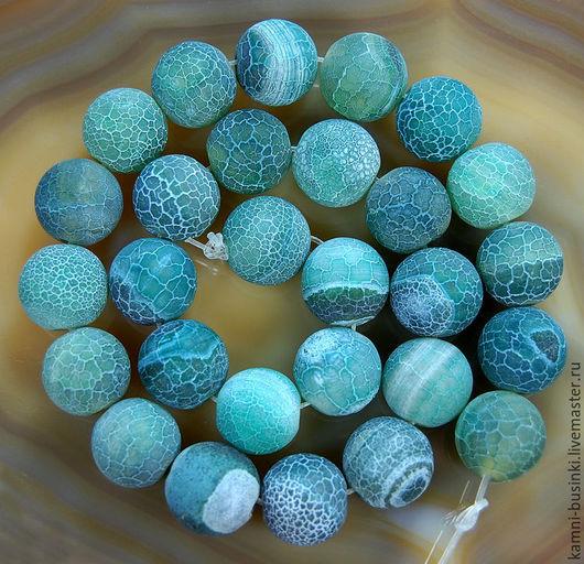 Агат кракле зеленый 14 мм бусина шар. Бусины агата для колье, агат бусины для браслетов, агат бусина шар для серег.