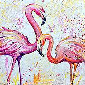 handmade. Livemaster - original item The picture Flamingo couple