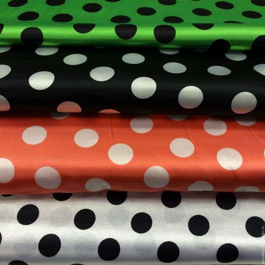 """Шитье ручной работы. Ярмарка Мастеров - ручная работа. Купить Ткань  атлас с рисунком """"Горох"""". Handmade. Зеленый, ткань для рукоделия"""