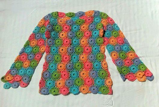 Одежда для девочек, ручной работы. Ярмарка Мастеров - ручная работа. Купить Разноцветная кофточка крючком. Handmade. Кофточка крючком