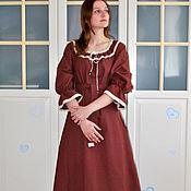 Одежда handmade. Livemaster - original item Long linen dress in boho style Chocolate. Handmade.