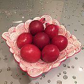 Посуда ручной работы. Ярмарка Мастеров - ручная работа Красные завитки керамическая тарелочка. Handmade.