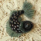 """Украшения handmade. Livemaster - original item Brooch - pendant """"Moon fish"""". A beaded brooch and pearls.. Handmade."""