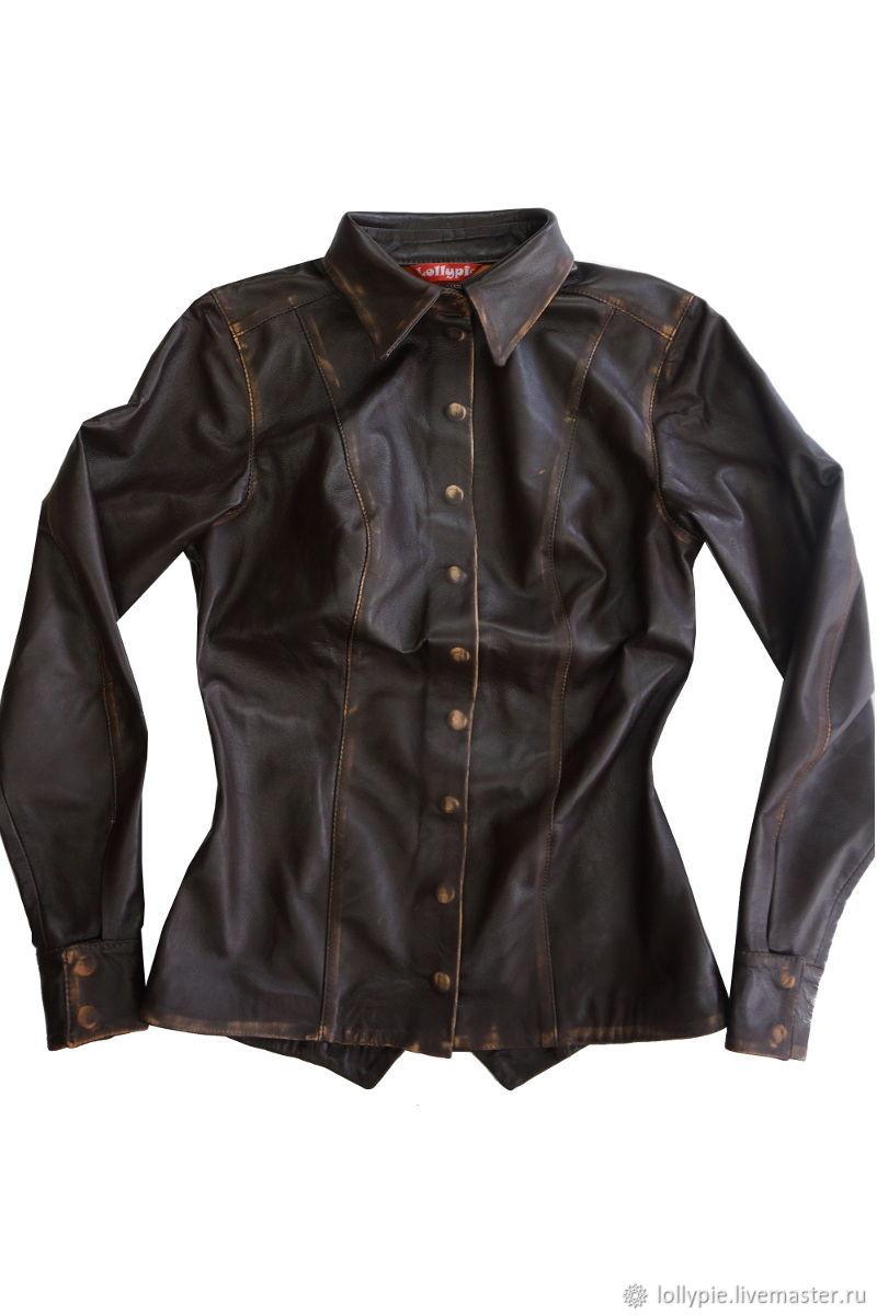 b5effeaaadd2502 Пиджаки, жакеты ручной работы. Ярмарка Мастеров - ручная работа. Купить Кожаная  рубашка женская ...