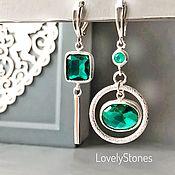 Украшения handmade. Livemaster - original item Asymmetrical earrings with precious emerald Topaz sterling silver. Handmade.