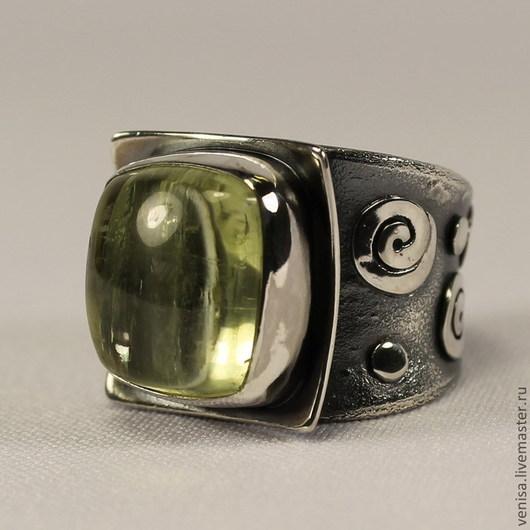 Кольца ручной работы. Ярмарка Мастеров - ручная работа. Купить Кольцо с гелиодором. Handmade. Лимонный, кольцо с желтым камнем, чернение