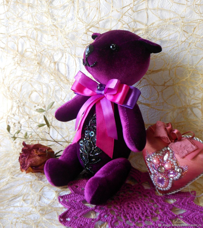 Фиолетовый медведь из бархата, Игрушки, Рязань, Фото №1