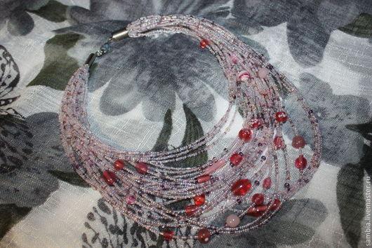 Колье, бусы ручной работы. Ярмарка Мастеров - ручная работа. Купить Колье из бисера Элегантное №2 розовое. Handmade.