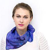 Аксессуары ручной работы. Ярмарка Мастеров - ручная работа Платок Флюорит фиолетово-синий  шелковый. Handmade.