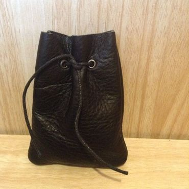 Souvenirs and gifts handmade. Livemaster - original item Leather bag for gift packaging, 8 x 10 cm, on the lace, black. Handmade.