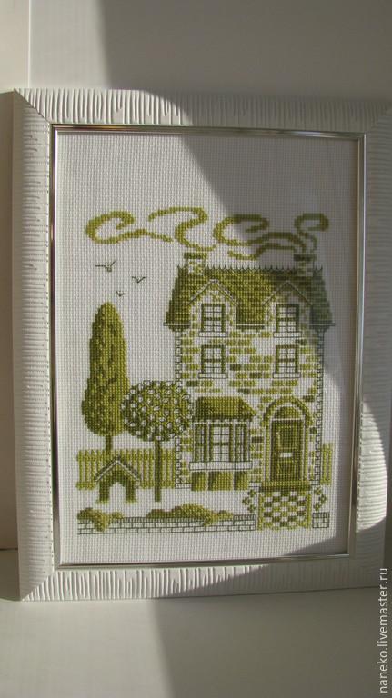 Вышивка крестом монохром дом