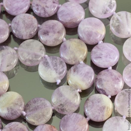 Бусины натурального камня аметист светло-сиреневого цвета формы таблетка диаметром 16 мм для использования в украшениях в качестве бусин и подвесок