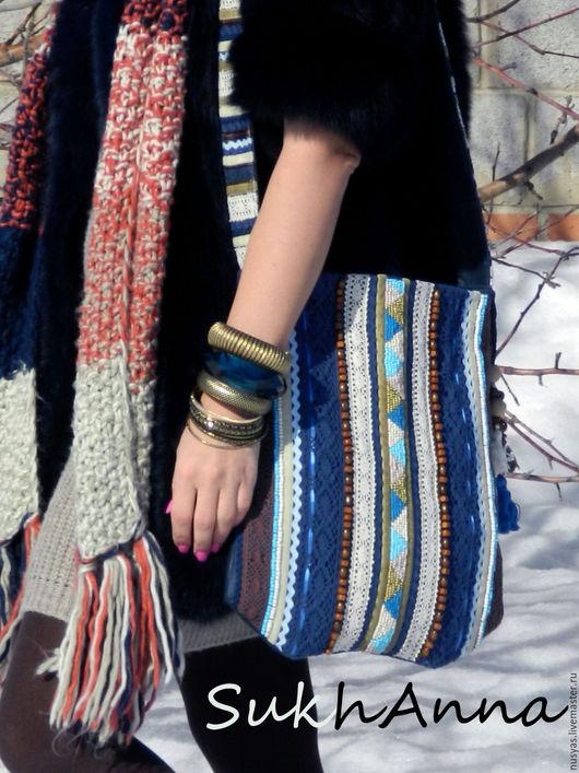 """Женские сумки ручной работы. Ярмарка Мастеров - ручная работа. Купить Бохо - сумка """"Freedom"""" Бронь. Handmade. Тёмно-синий"""