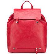 "Сумки и аксессуары handmade. Livemaster - original item Кожаный рюкзак ""Брук"" (красный). Handmade."